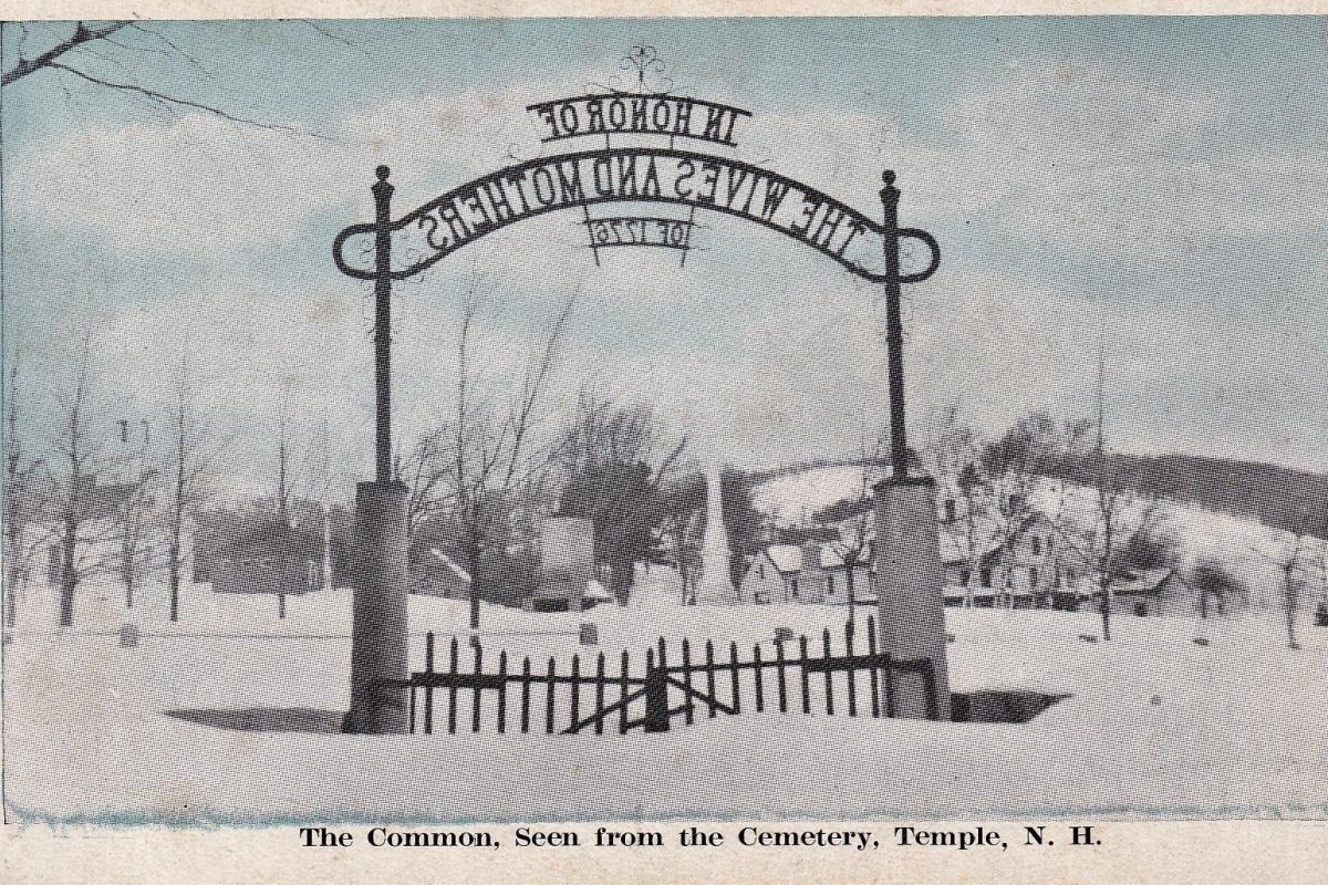 View of the Common from the Cemetery highlighting the iron gate