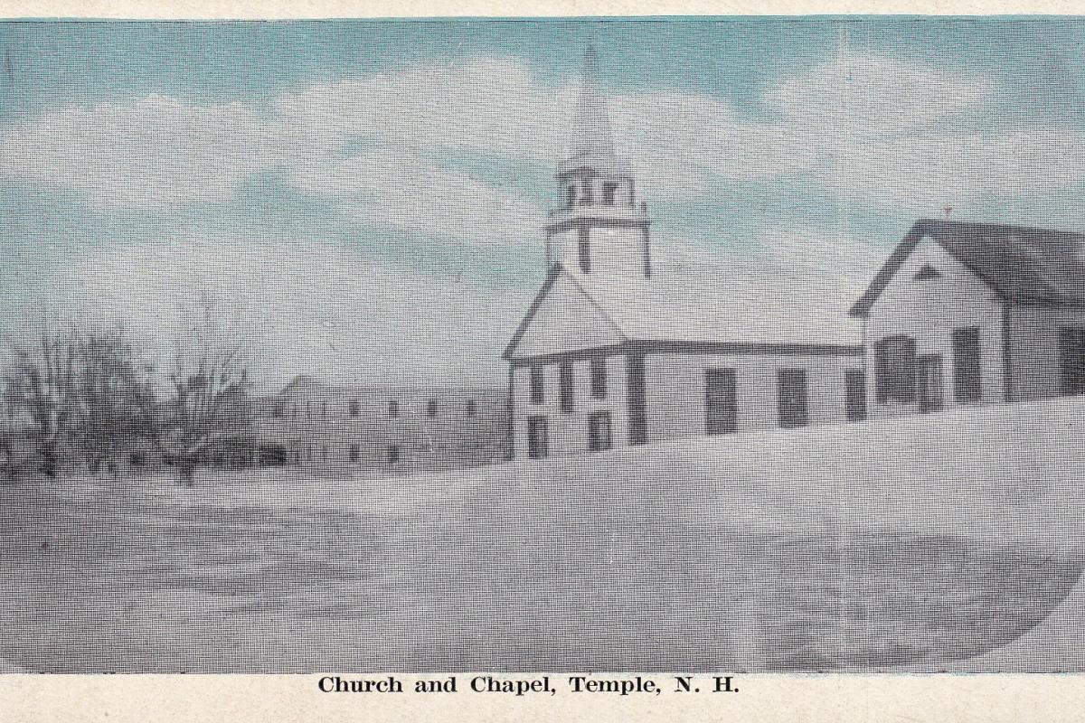 view of town center featuring what is now the post office and store, the church and chapel